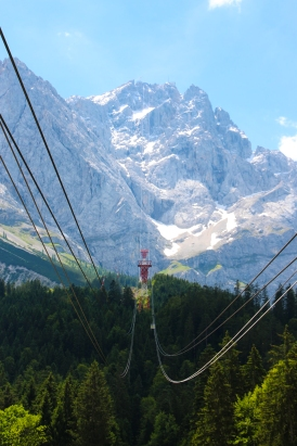 The cable car ride up to Zugspitze, the tallest mountain in Germany. Bavaria, 2015