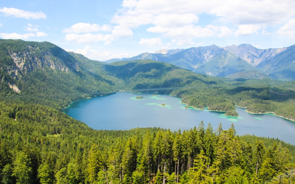 The view of the Eibsee from the cable car ride up the mountain. Bavaria, 2015