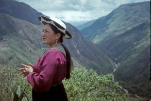 Louisa, a Saraguro native explains her villages' history and culture. Saraguro, Ecuador.